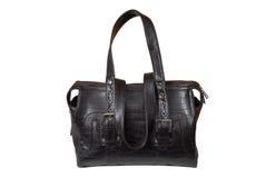 Brown leatherettehandväska. arkivbild