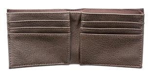 Brown-Leder-Geldbörse offen und leer stockbilder