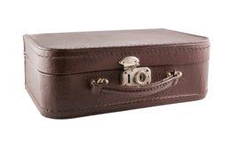 Brown-Leder suitecase auf weißem Hintergrund Stockfotografie