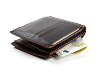 Brown-Ledergeldbeutel mit Eurogeld Lizenzfreie Stockfotos