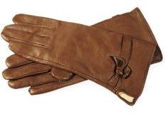 Brown-Lederhandschuhe lizenzfreie stockfotos