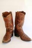 Brown-lederne Cowboystiefel Lizenzfreie Stockfotos