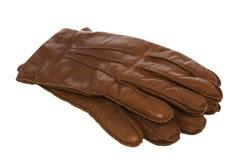 Brown-lederne Handschuhe auf Weiß mit Ausschnittspfad Lizenzfreie Stockbilder