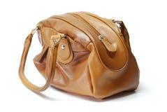 Brown-lederne Handtasche Stockbild