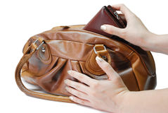 Brown-lederne Handtasche Stockfotografie