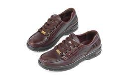 Brown-lederne Schuhe Stockfotografie
