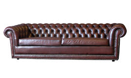 Brown-ledernes Sofa stockbild