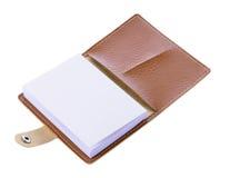 Brown-Ledernotizbuch lokalisiert auf weißem Hintergrund Stockfoto
