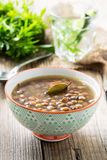 Brown lentil soup with mushrooms in bowl Royalty Free Stock Photo