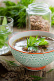 Brown lentil soup with mushrooms in bowl Royalty Free Stock Photos