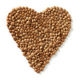 Brown lentils heart Royalty Free Stock Photography