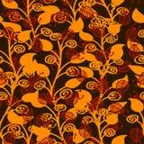 Brown liście z czerwonymi insektami royalty ilustracja