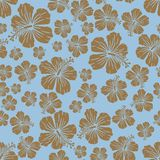 Brown on light blue random hibiscus flower seamless repeat pattern background. Two colour random hibiscus flower seamless repeat pattern background. Could be Royalty Free Stock Image