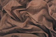 Brown linen texture. Close up view of brown linen fabric texture Royalty Free Stock Photography