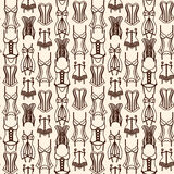 Brown lingerie line art seamless pattern Royalty Free Stock Photo