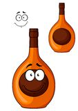 Brown liqueur bottle with a smiling face Stock Photo