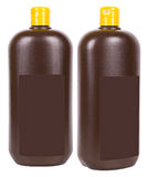 Brown liquid soap containers Royalty Free Stock Photo