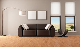 Brown living room vector illustration