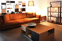 Brown living room Stock Images