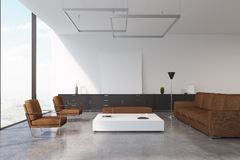 Brown living room. Living room interior with a brown sofa and two armchairs standing near a white coffee table. 3d rendering, mock up Stock Photo