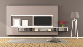 Brown living room with tv Stock Image