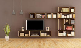 Brown living room with TV Royalty Free Stock Photography