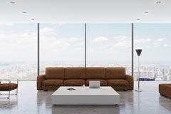 Brown living room with window Royalty Free Stock Images