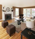 Brown livinng room with white fireplace. Royalty Free Stock Photography