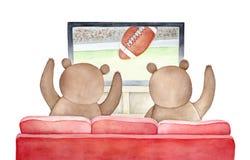 Brown lleva el mirar de la difusión de TV del partido del fútbol americano libre illustration