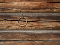 Brown loghouse wall fragment with a metal ring. On a nail Royalty Free Stock Image