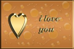 Brown love card with golden heart illustration. Valentines day card Royalty Free Stock Image