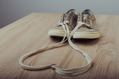 Brown lovely sneakers Stock Photography