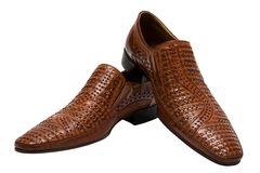 Brown low shoes Stock Photo