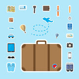 Brown luggage with travel icon Royalty Free Stock Photography