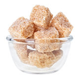 Brown lump cane sugar in a glass bowl Royalty Free Stock Photo