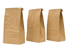 Brown Lunch Bags With Tops Folded Stock Images