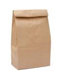 Brown lunchu torba z ścinek ścieżką Zdjęcie Stock
