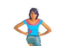 Brown-Mädchen, das betont wird Stockbild