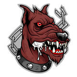 Brown mad dog. Stylized head of mad furious brown dog unleashed vector illustration