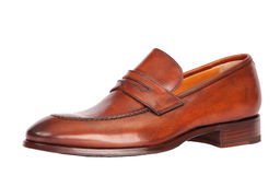 Brown male classic shoe Stock Photos