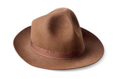 Brown male felt hat isolated on white Stock Photos