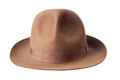 Brown male felt hat isolated on white Royalty Free Stock Photography