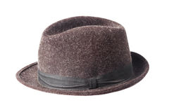 Brown male felt hat isolated on white Royalty Free Stock Images