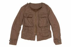 Brown male jacket. Is on white background Stock Photos