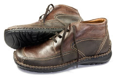 Brown male leather shoes Royalty Free Stock Images