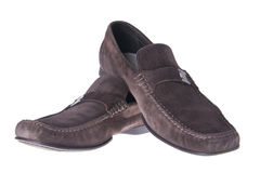 Brown male mocassins Stock Photography
