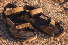 Brown male sandals. Sand with crushed shells. Summer on exotic island. Path of the explorer Royalty Free Stock Photos
