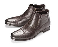 Brown male shoes Stock Images