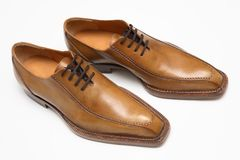 Brown male shoes Royalty Free Stock Image