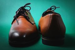 Brown male shoes. In green background Stock Image